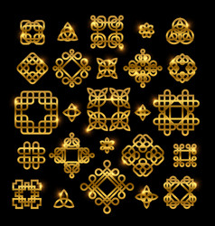 Golden celtic knots with shiny elements isolated vector
