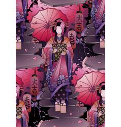 Graphic geisha with umbrella vector