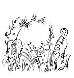 Grass and flowers silhouette isolated on white vector