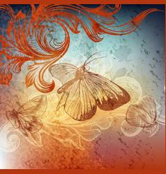 grunge design with butterflies vector image