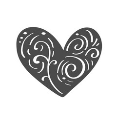 hand drawn scandinavian velentines day heart with vector image