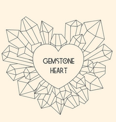 heart frame with mineral crystal splash beside it vector image