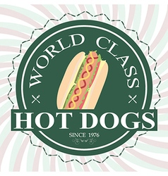 Hotdog sandwich world class label stamp design vector