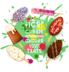 Ice cream lolly set colorful desserts collection vector