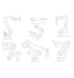 Industrial robotic arm set isolated robotic arm vector