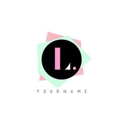 l geometric shapes logo design with pastel colors vector image