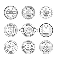 Labels emblems badges for cheese Cheese icons vector image