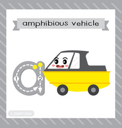 Letter a lowercase tracing amphibious vehicle vector