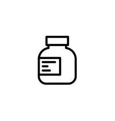 line pills bottle icon on white background vector image