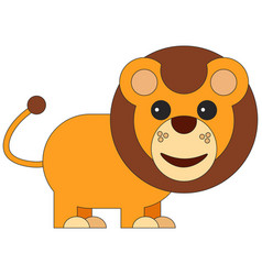 lion in cartoon flat style vector image