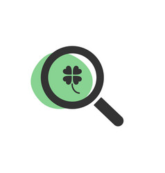 Magnifying glass looking for a four-leaf clover vector
