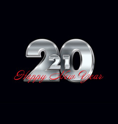Metallic silver happy new year background vector