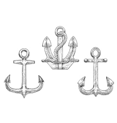 Navy ship anchors with rope sketch icons vector image