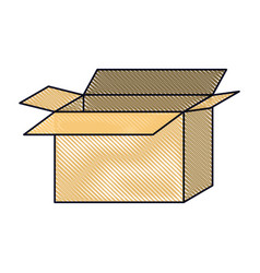 Opened cardboard box icon in colored crayon vector