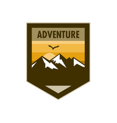 Orange scene mountain adventure edgy shield badge vector