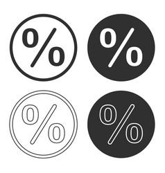 percentage shape icon button set vector image