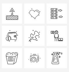 Pixel perfect set 9 line icons such as pin vector