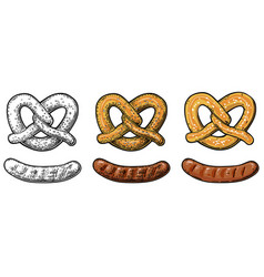 Pretzel and sausage vintage flat and vector