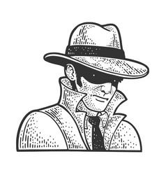 Private detective with hat sketch vector