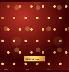 Red background with golden polka dots vector