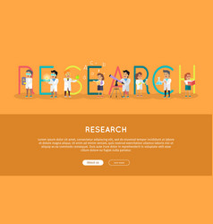 Research science banner human characters in gowns vector