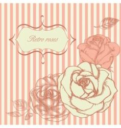 retro roses corner vector image