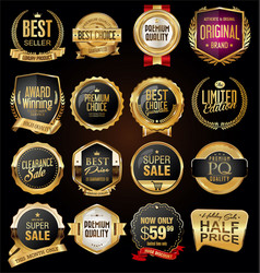 retro vintage black badges and labels collection 2 vector image
