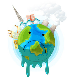 Sad earth concept poster vector