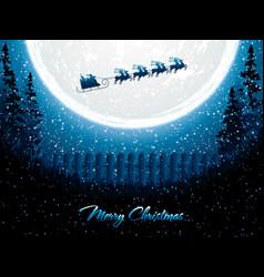 Santa claus rides in a reindeer sleigh vector