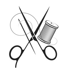 scissors thread needle symbol vector image