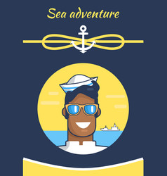 Sea adventure colorful banner with cheerful sailor vector