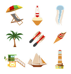 Sea and tourism flat icon set cartoon vector