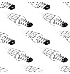 Seamless pattern hockey pucks in motion vector
