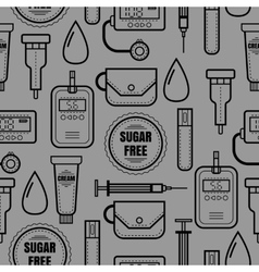 Seamless pattern of medical flat objects Diabetes vector image