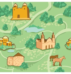 seamless pattern with map and houses vector image vector image