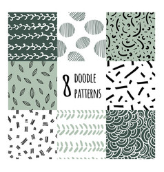 Set eight seamless pattern vector