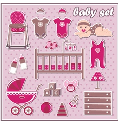 Set of baby girl icons vector image