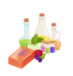set of natural organic hand made soap with olives vector image