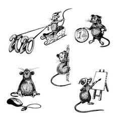 set rats characters with long tail riding vector image