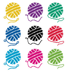 set yarn ball icons vector image