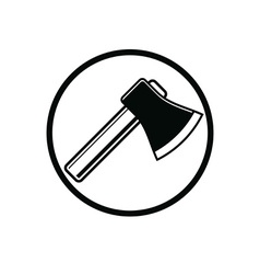 Sharp axe symbol woodcutter tool simple hatchet vector