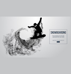 Silhouette of snowboarder jumping white background vector