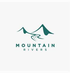 simple mountain river landscape logo icon vector image