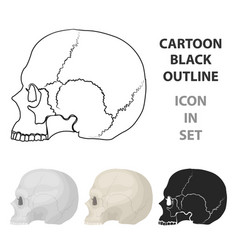 skull icon in cartoon style isolated on white vector image