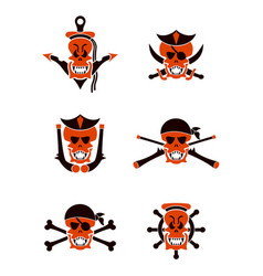 skull sea tribal tattoo set vector image
