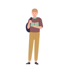 smart man with book male character in vector image