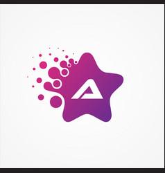stars pixel for technology symbol letter a design vector image