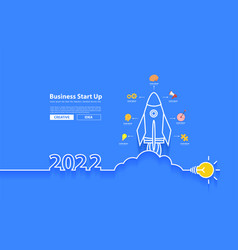 Startup business 2022 new year rocket launch vector