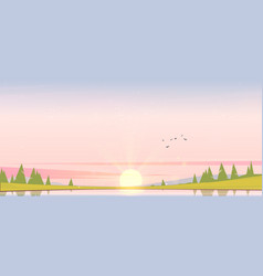 Sunrise landscape with lake and trees vector