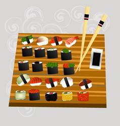 sushi set sea food maki and rolls japanes vector image